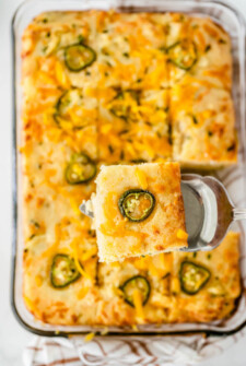 Pan of jalapeno cornbread.