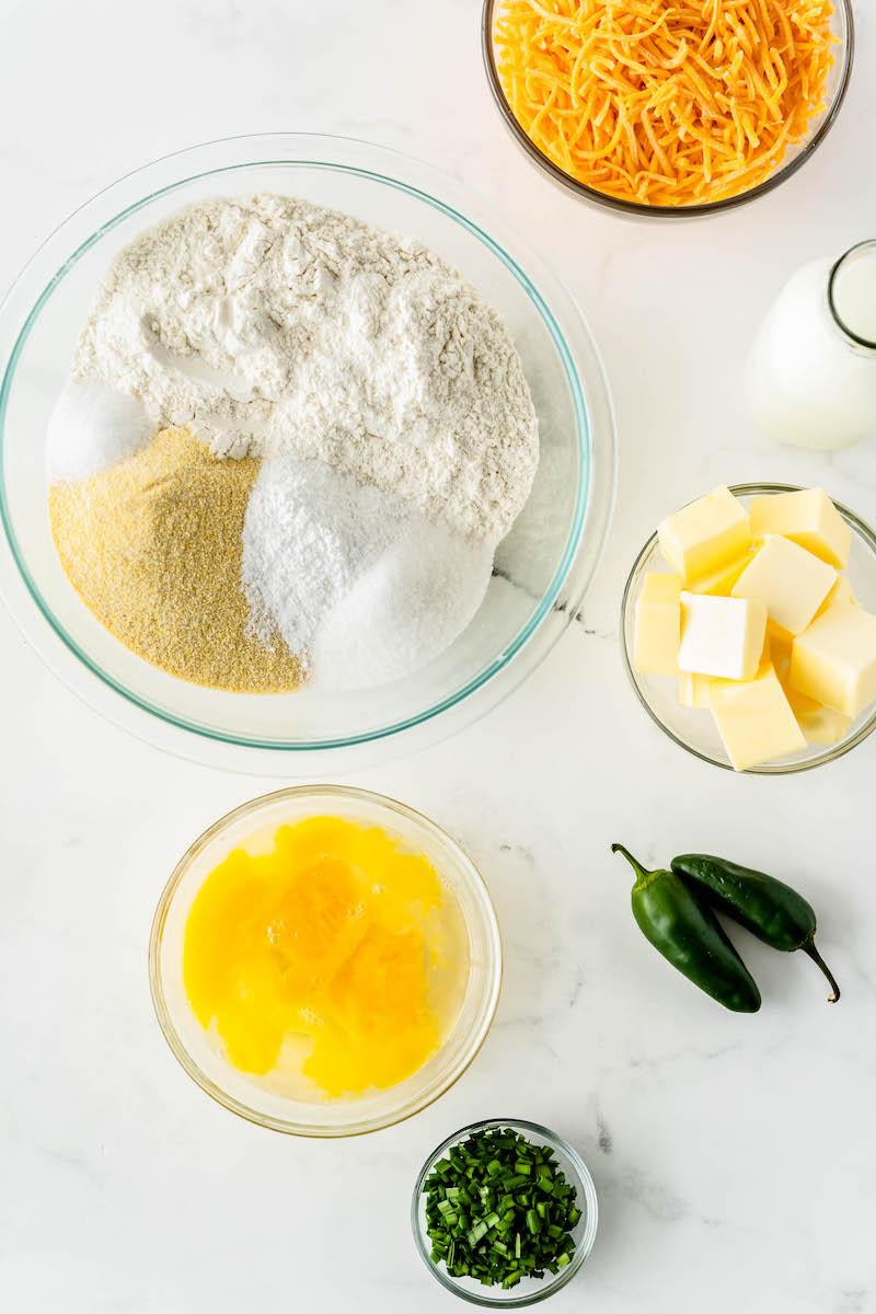 Cornbread ingredients in bowls.