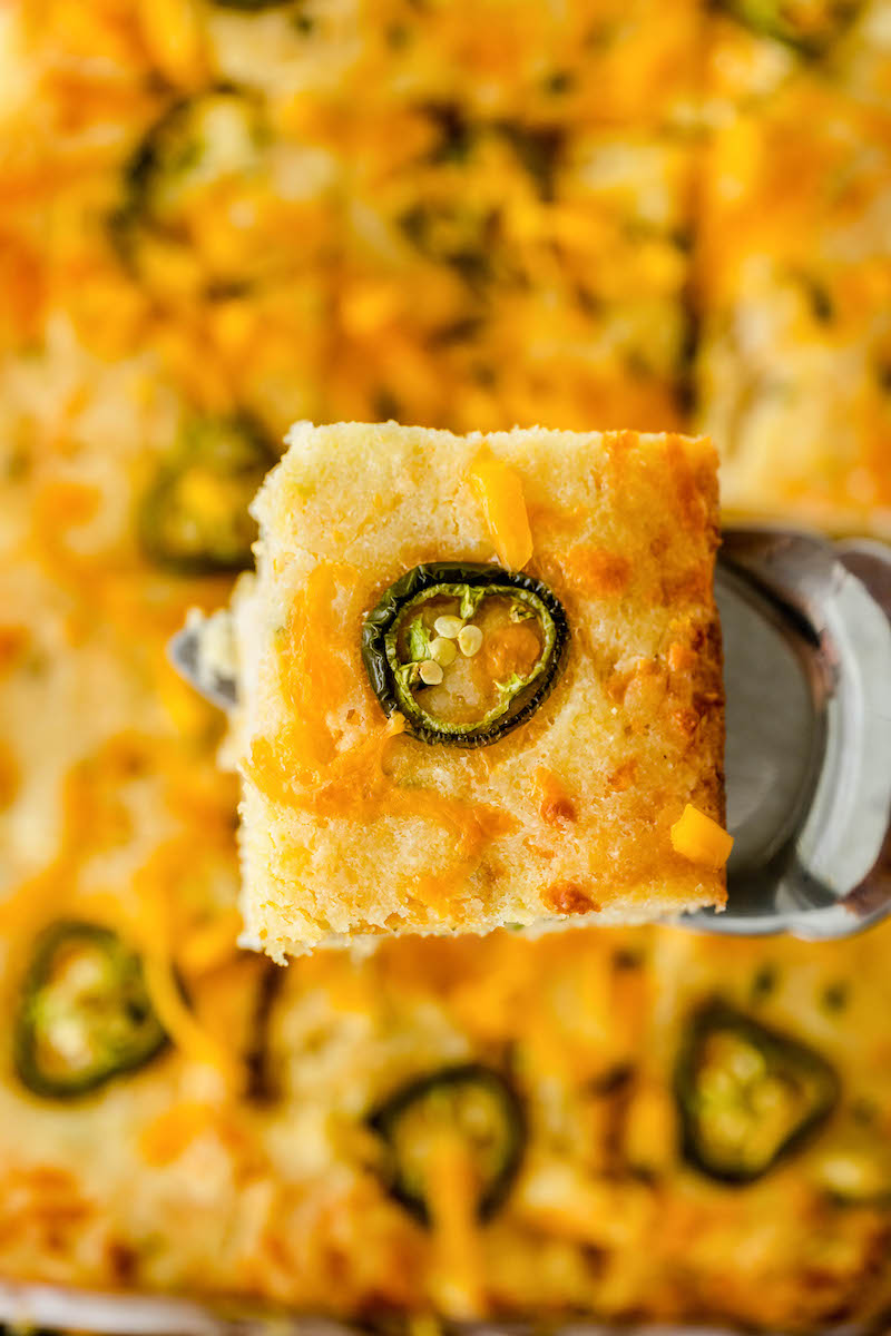 Cheddar jalapeno cornbread topped with sliced jalapenos.