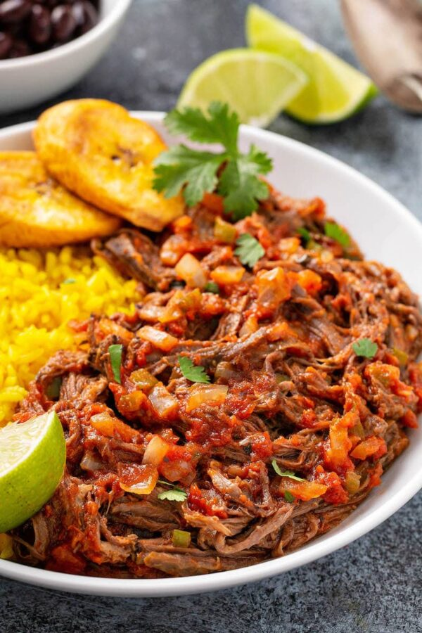 Ropa Vieja in a white bowl.