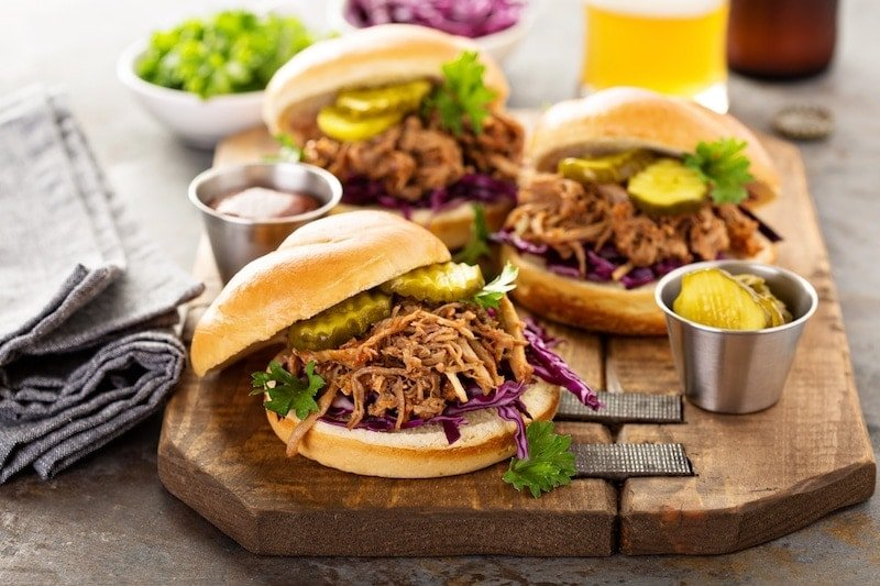 Pulled pork sandwiches up close image