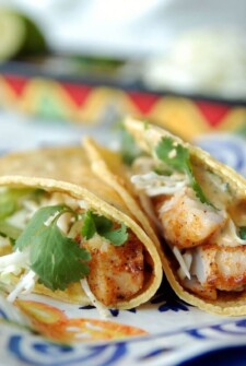 Close up of two corn tortilla soft tacos filled with blackened fish, shredded cheese and green cilantro on patterned square plate