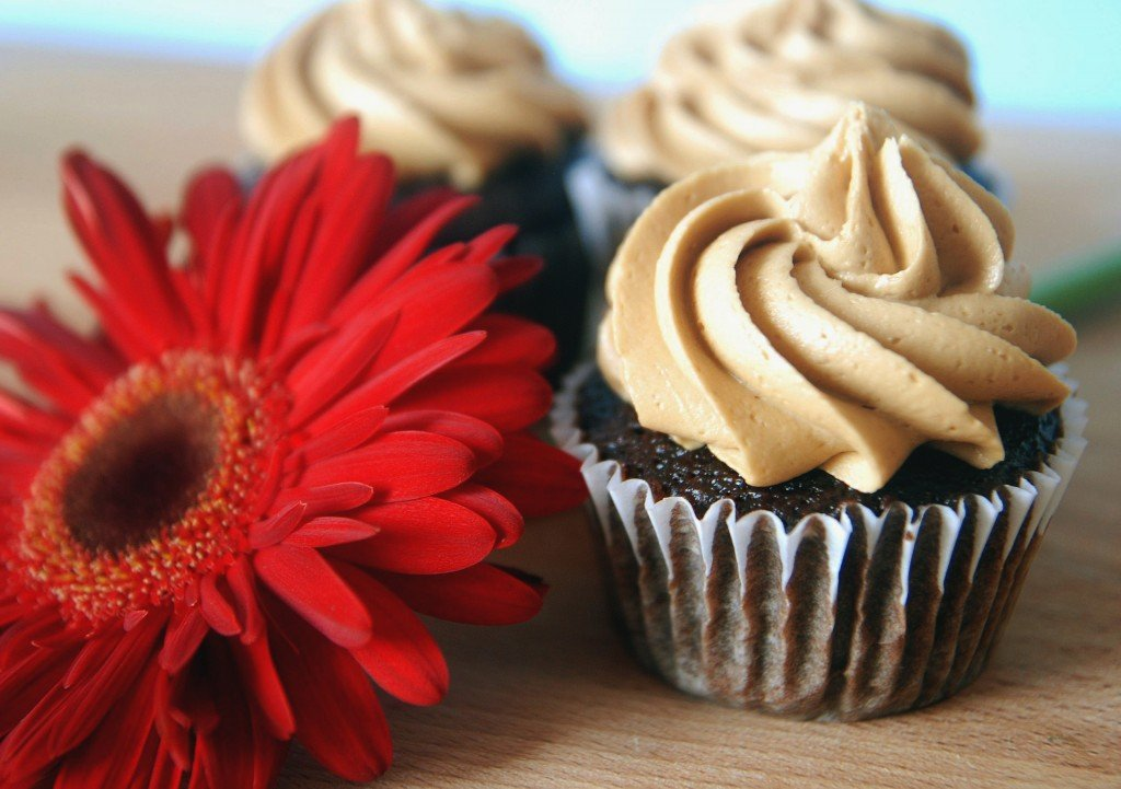 Close up image of chocolate cupcake with frosting swirled on top.