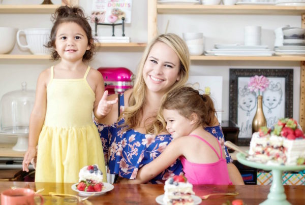 Jessica Segarra at the Dining Table with Her Two Daughters