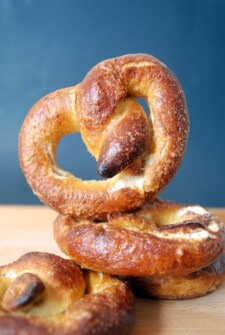 pretzels stacked on top of each other with one standing up