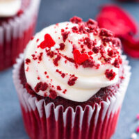 Close up photo of the best red velvet cupcake