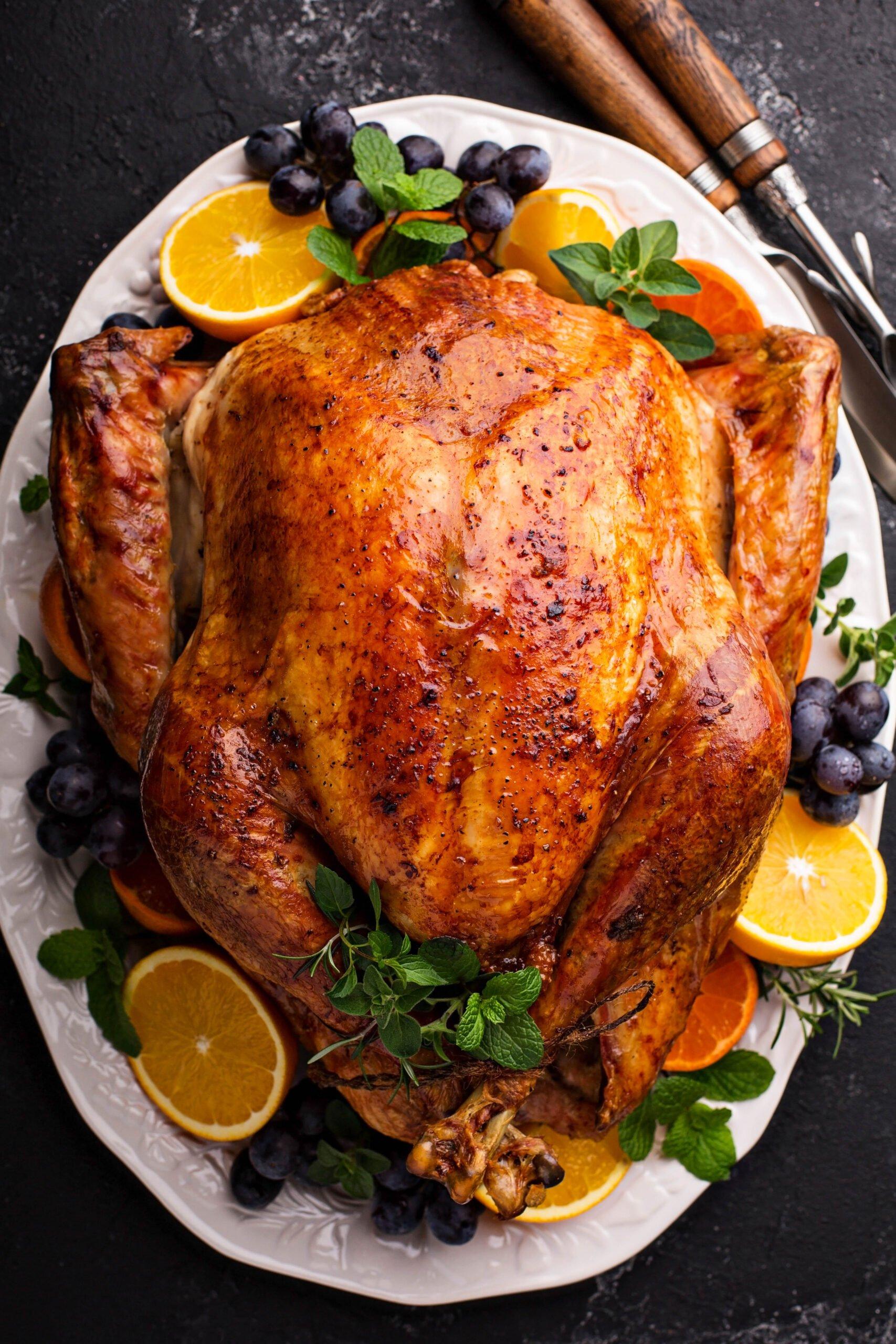 Roast turkey on a platter for Thanksgiving turkey.