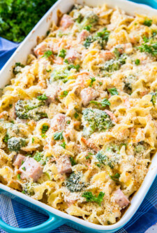 Creamy Ham Casserole with vegetables and pasta tossed in creamy sauce.