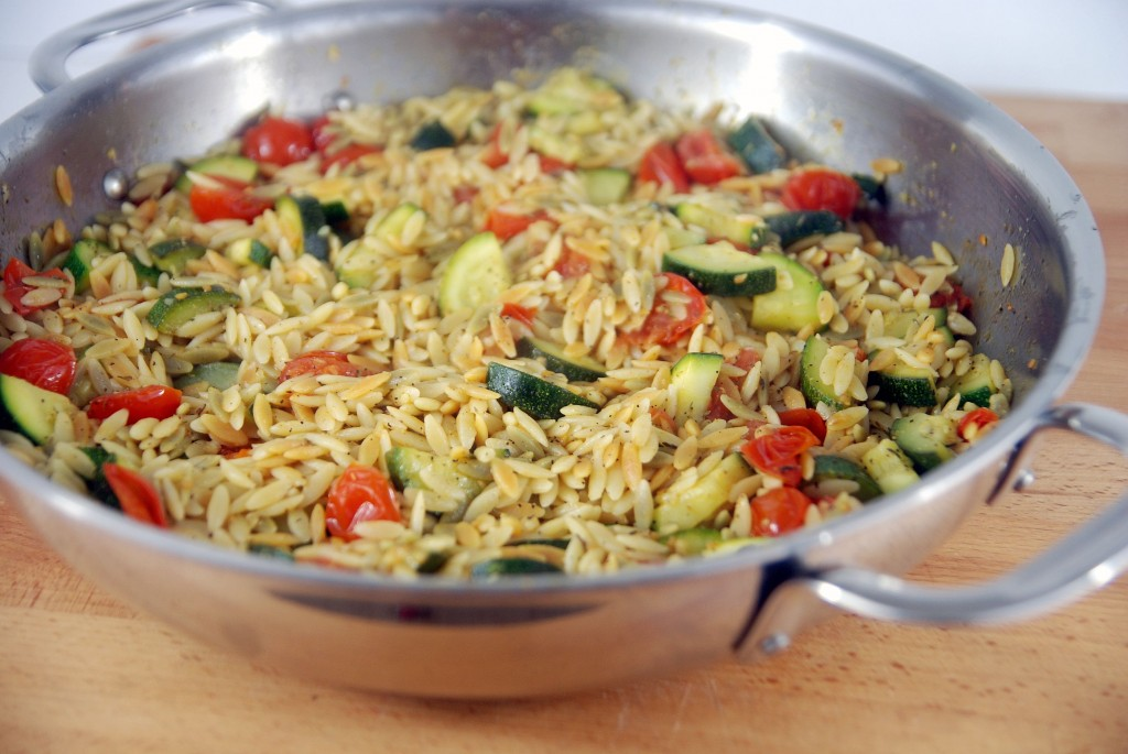 Tri-Color Orzo with Zucchini & Cherry Tomatoes – The Novice Chef