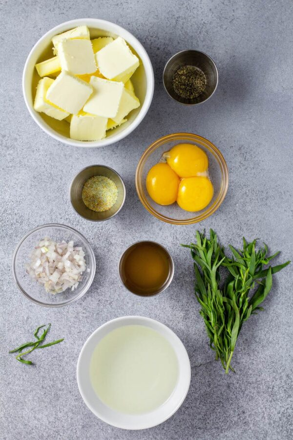 Ingredients for Bearnaise sauce.