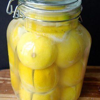 Preserved Lemons in a large glass jar
