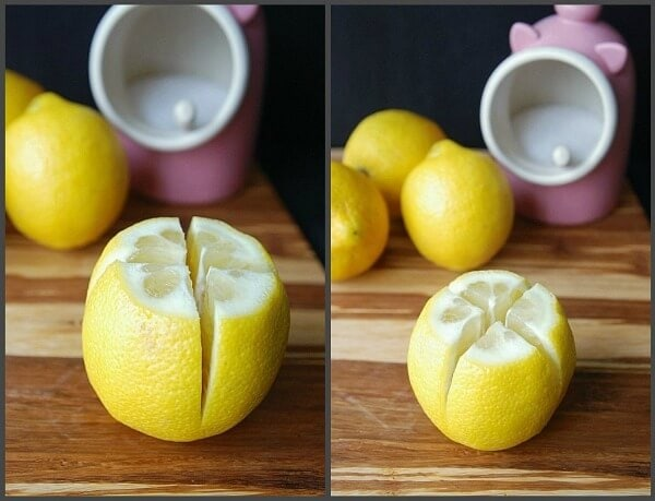 Two images showing a single lemon split down the middle two ways