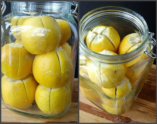 Two images showing lemons stuffed with salt in glass jars
