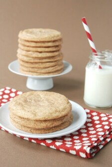 Three Cinnamon Sugar Chai Spice Cookies on a White Plate on Top of a Red and White Tablecloth