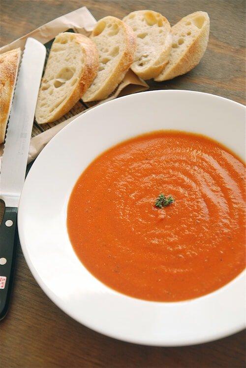 basil, soup, appetizer, restaurant, easy, tomato, cream, garlic, tomato soup, creamy tomato soup, spicy