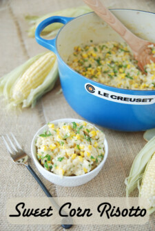 corn, risotto, butter, white wine, appetizer, entree, parsley, chicken stock