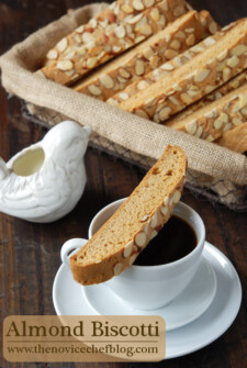 An Almond Biscotti Cookie Balanced on Top of a Coffee Mug