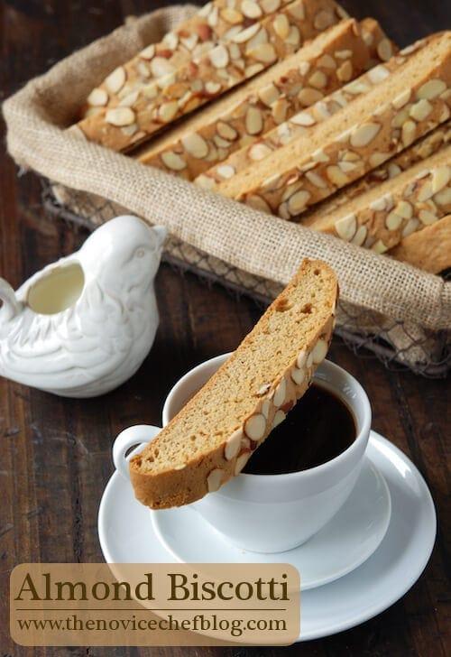 An Almond Biscotti Cookie Balanced on Top of a Coffee Mug