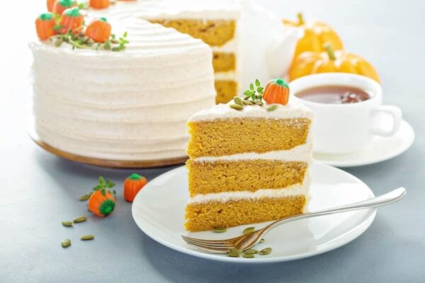 Pumpkin Dream Cake: three big layers of super moist pumpkin spiced cake, made completely from scratch, frosted with a sweet cinnamon maple cream cheese icing! #Pumpkin #Cake #Dessert #FallRecipes #PumpkinRecipes