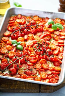 Roasted Cherry Tomatoes on a sheet pan.