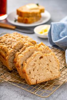 A sliced loaf of beer bread.