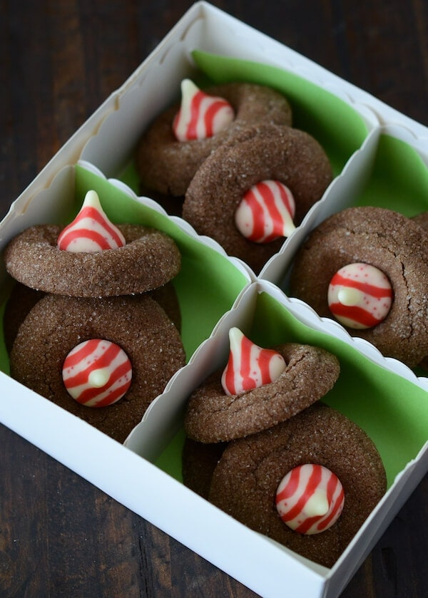 Chocolate Peppermint Blossoms, Candy Cane Kisses, Hershey's Kisses, Peppermint Kisses, cookies