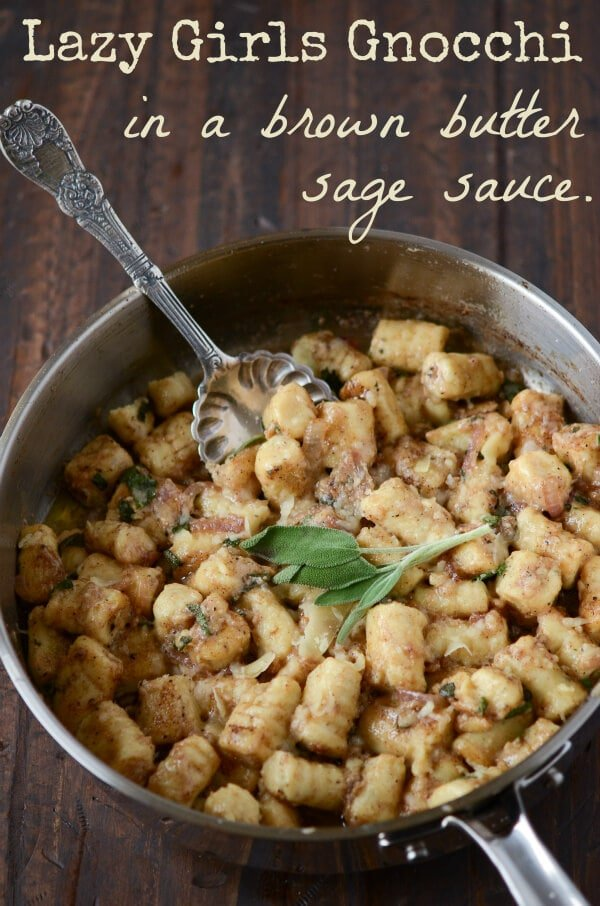 A Skillet on a Table Filled with Gnocchi in a Brown Butter Sage Sauce