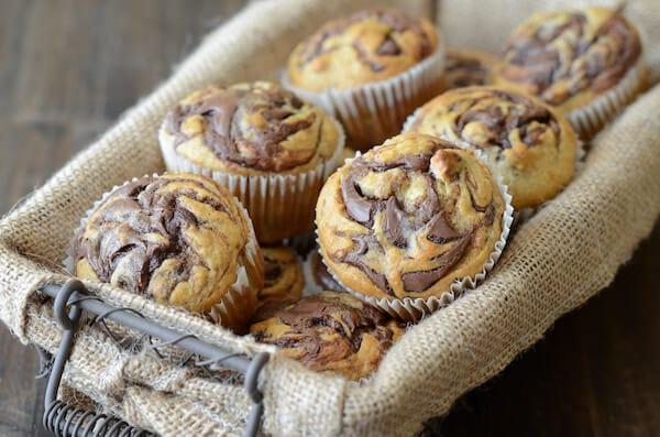 Nutella Banana Swirl Muffins from www.thenovicechefblog.com