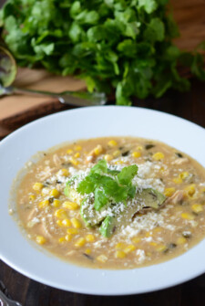 Roasted Poblano, Corn & Chicken Soup in white bowl