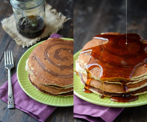 Two images of banana pancakes with a cinnamon swirl on green plates. One has syrup being poured on it.