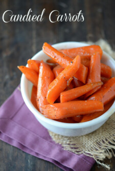 Candied carrots in a small white dish.