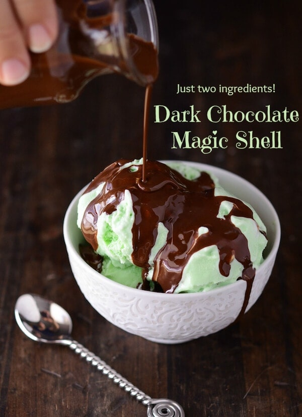 DIY Dark Chocolate Magic Shell using just two ingredients! via thenovicechefblog.com