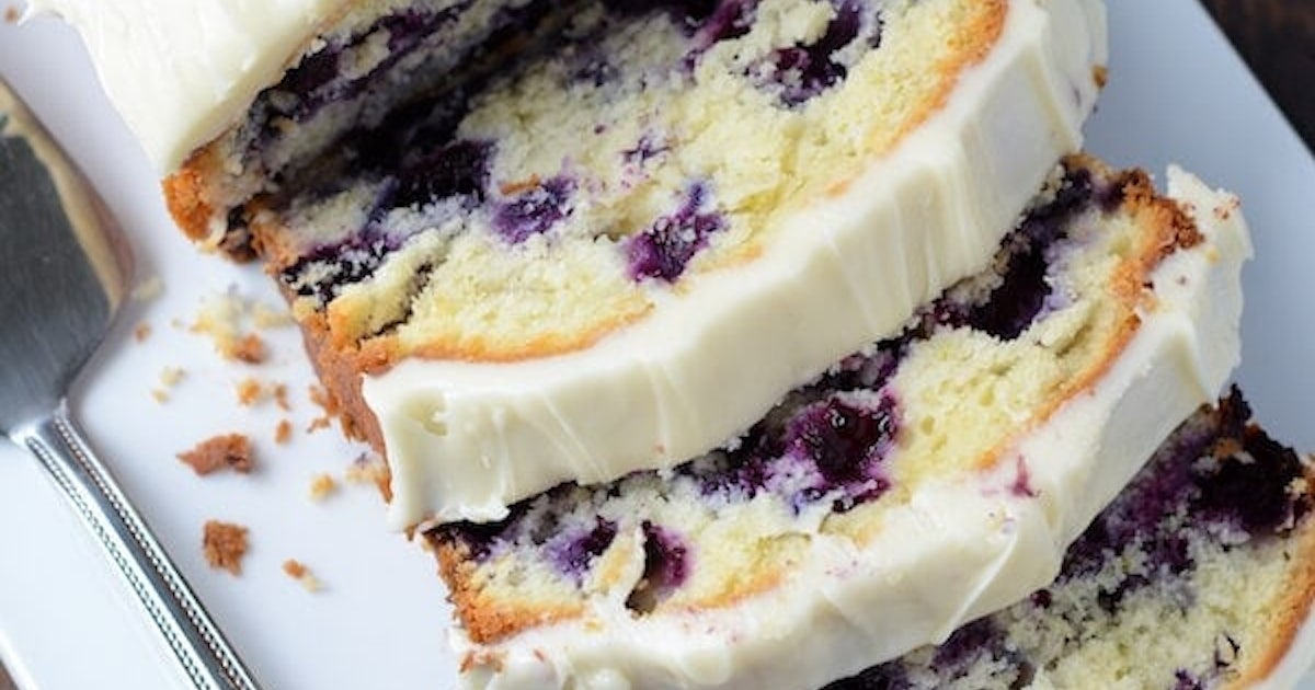 Best Homemade Blueberry Lime Pound Cake with Cream Cheese Frosting!