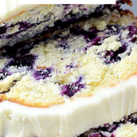 Up close image of blueberry pound cake sliced into pieces.