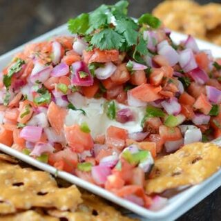 Creamy Pico de Gallo Dip on a white plate surrounded by pretzel chips.