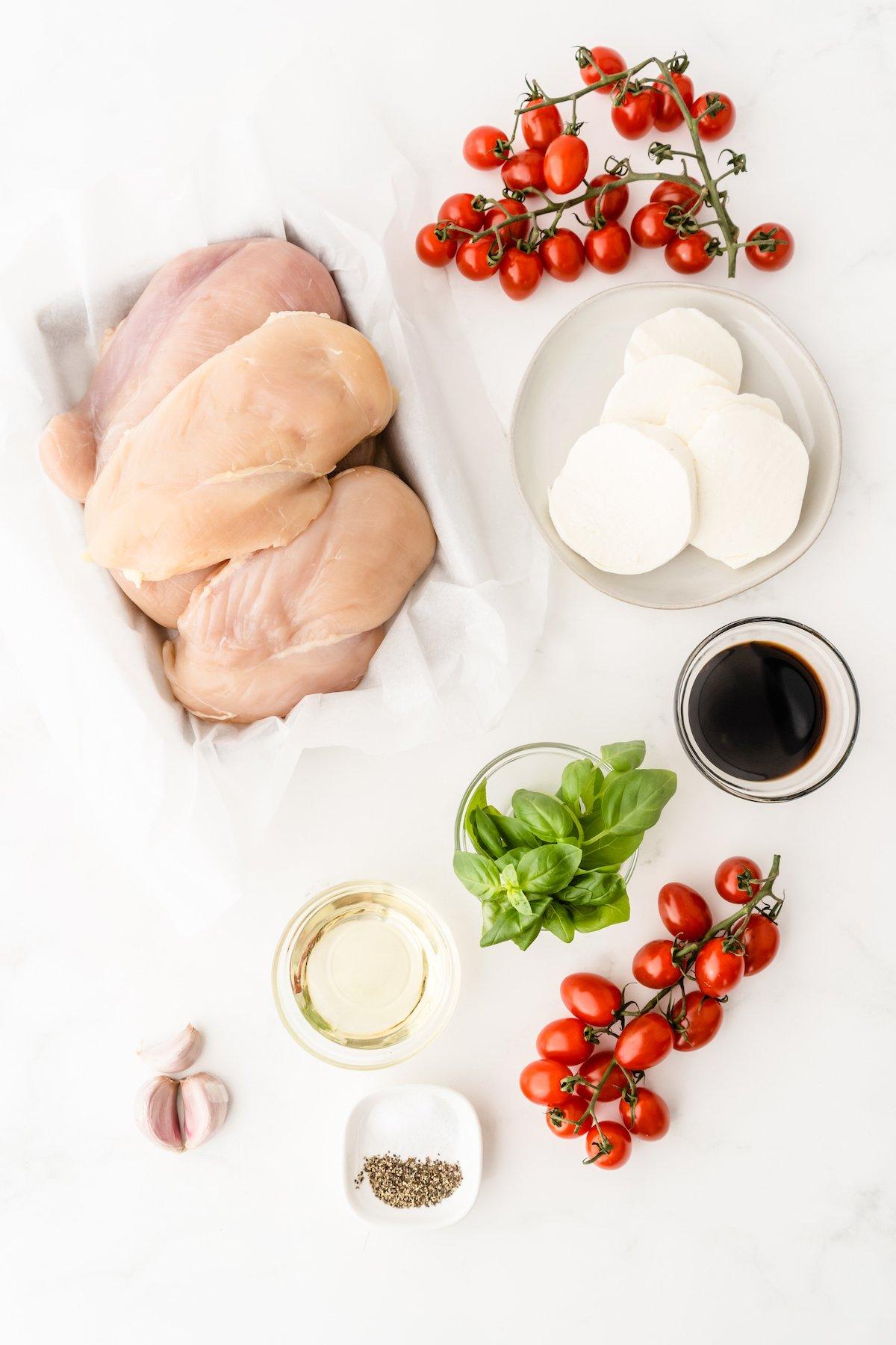 Ingredients for caprese chicken.