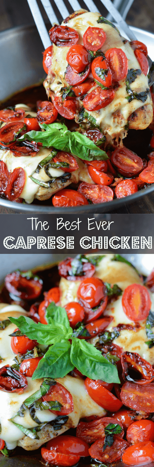 Caprese Chicken: chicken breasts are topped with garlic cherry tomatoes, mozzarella, basil and balsamic vinegar to create this one pan, 30 minute, low carb dinner.
