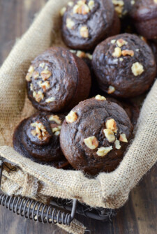 Eggless Chocolate Banana Muffins in a basket.
