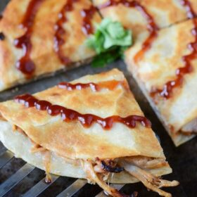 Sliced Pulled Pork and Caramelized Onion Quesadillas.