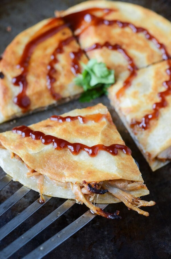 Pulled Pork and Caramelized Onion Quesadillas  (recipe on thenovicechefblog.com)