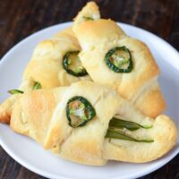 Jalapeno Cream Cheese Crescent Rolls on a white plate