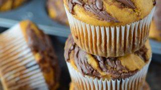 Pumpkin Nutella Swirl Muffins