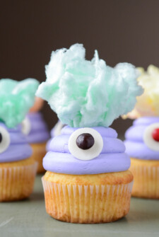 One Eyed Monster Cupcakes with Cotton Candy Hair