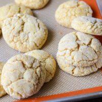 Soft Pumpkin Sugar Cookies on a cookie sheet