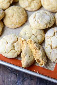 Soft Pumpkin Sugar Cookies on a cookie sheet