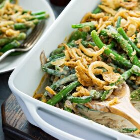 The Best Green Bean Casserole Ever: this winning recipe is made from scratch with fresh green beans, mushrooms, heavy cream and no cans of cream of anything! #greenbeancasserole #thanksgiving #casserole #holidays #christmas #sidedish