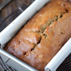 Peanut Butter Banana Chocolate Chip Bread in a loaf pan