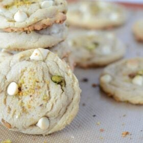 Cookie Sheet of White Chocolate Pistachio Cookies