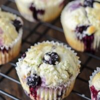 Blueberry Lime Muffins on black rack