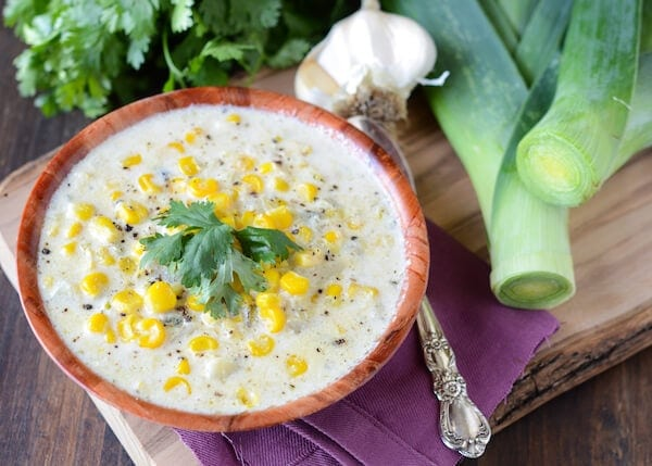 Creamy Sweet Corn and Roasted Poblano Soup via www.thenovicechefblog.com